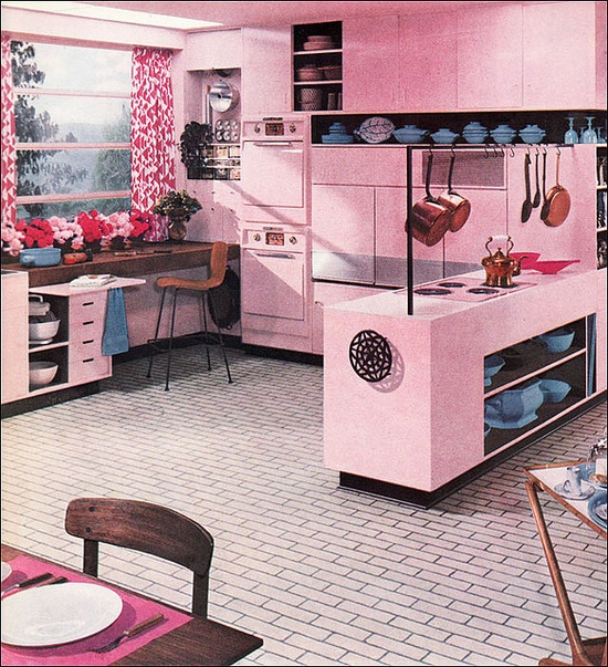 1956 Pink Kitchen  Published in Better Homes & Gardens, this is another Armstrong kitchens ad.