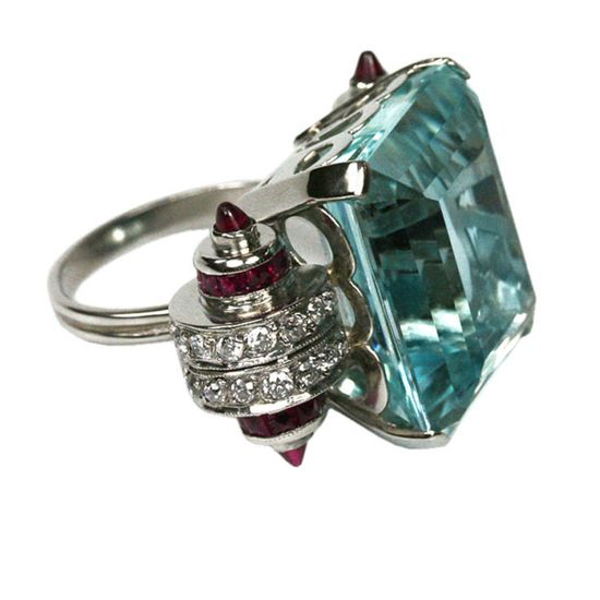 Cartier-art deco aquamarine, diamond, ruby ring