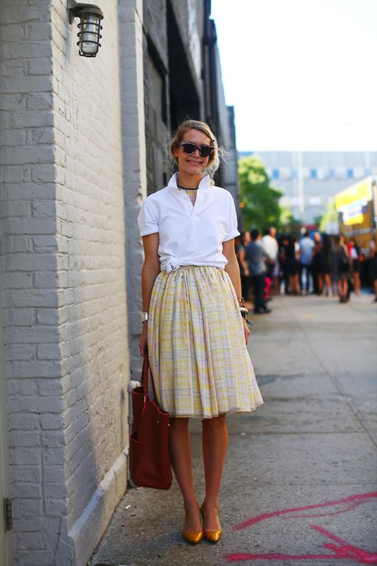 always classic: full skirt + crisp white button down