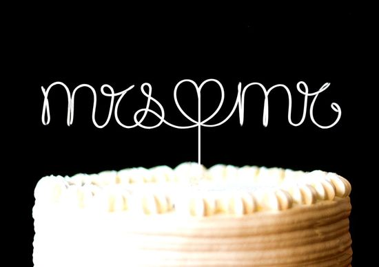 Cake Topper Monogram Silver Set, We Do with heart. $16.00, via Etsy.