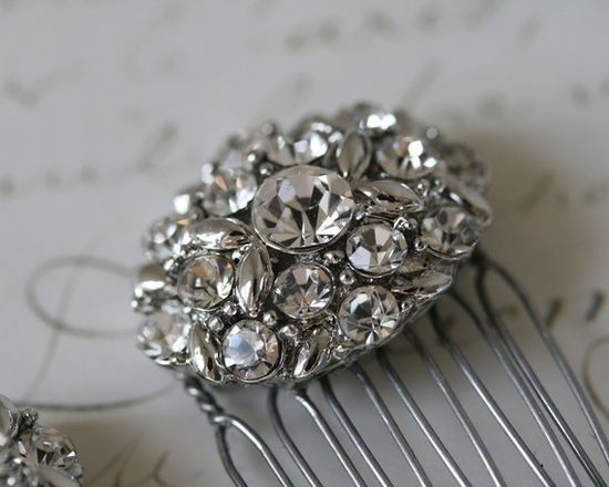 Rhinestone Hair Combs Pair Bridal Hair by PemberleyCollection, $36.00