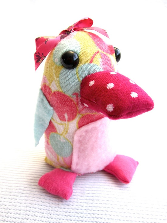 Handmade Upcycled Plush Bird OOAK Collectible Sock by Fuffalumps