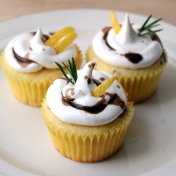 Lemon Rosemary Cupcakes with Italian Meringue Icing & Balsamic Glaze Drizzle