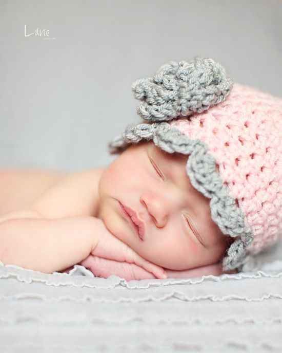 Newborn Baby Hat with Scalloped Edging and  by BostonAvenueBabies