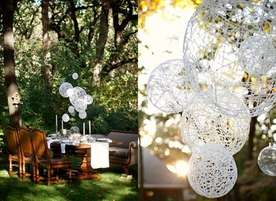 String ball chained for outside.    This is too cute hanging the bals like this! I'm doing this all over our wedding in peacock colors! Purple, navy and teal blues, brown and a white with a mist of gold spray paint on it. Green is already in the venue, so I'll leave that out.