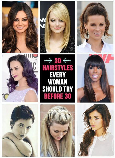 30 hairstyles to try before 30..or 40 or 50! This is a great HAIR bucket list ;)