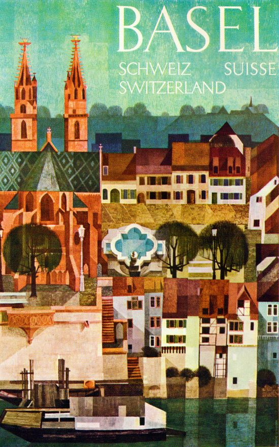 Marcus Schneider Illustration - Travel poster for the city of Basel, from Graphis Annual 61/62. #illustrations #art #posters
