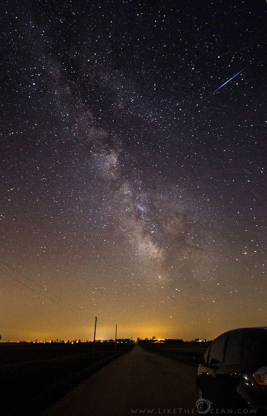 "Astrophotographer Sathya sent in a photo of an Eta Aquarid meteor taken on May 11, 2013, at Green River State Wildlife Area Harmon, IL. Sathya has titled it: ""The Road to Milky Way."" Credit: Sathya/..."