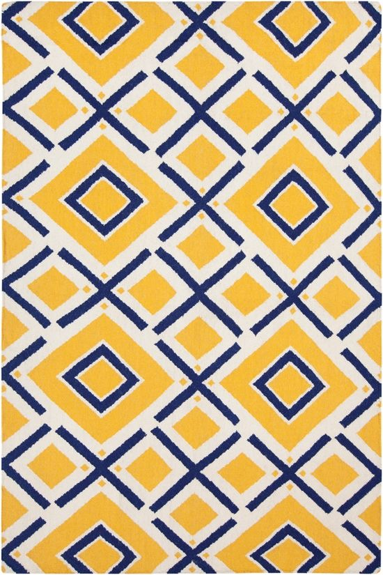 Yellow and navy rug