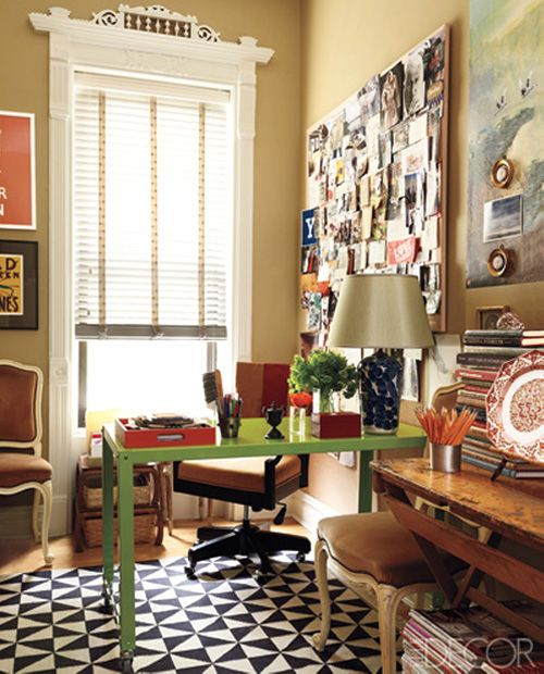 colorful office // graphic rug // inspiration board