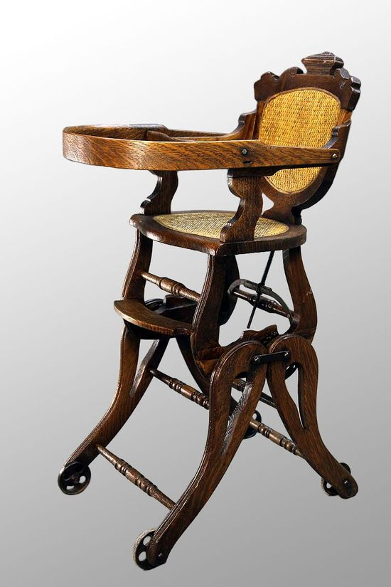 Antique Victorian Oak Children's High Chair/Rocker