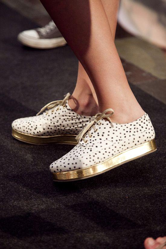 gold platform lace-ups