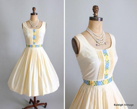 Early 1960s Dress Garden Party Sundress