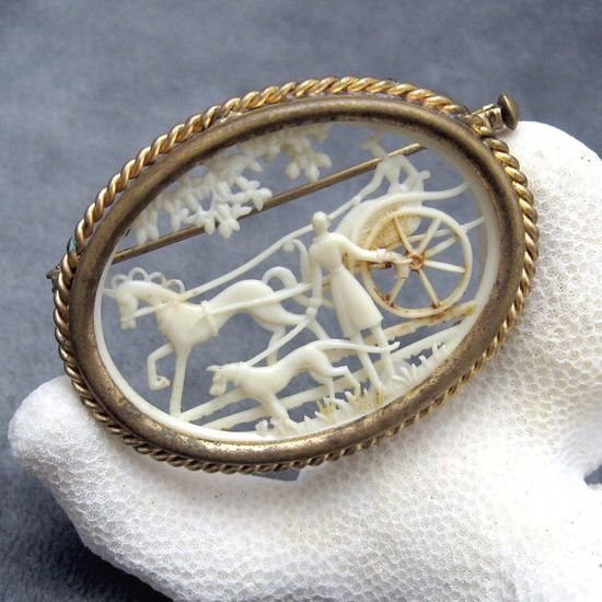 Celluloid Brooch Deco Carved Scene France by PurpleDaisyJewelry, $42.00