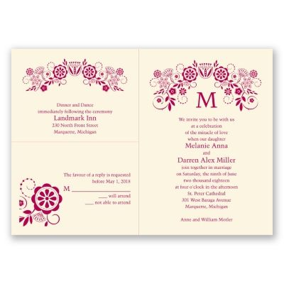 """Floral arch style wedding invitation with monogram.   """"Modern Whimsy"""" 3 for 1 Invitation in Ecru. Printed using raised ink and you can change the color to match your wedding colors!"""
