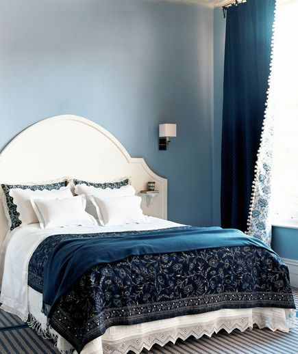 perfect layered blues + white bedroom