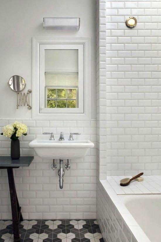Charcoal/white tile floor. Beveled Subway Tile