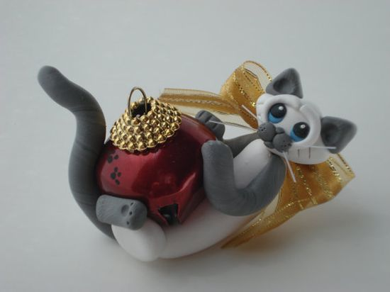 Christmas Ornament Polymer Clay Siamese Cat by HeartOfClayGirl