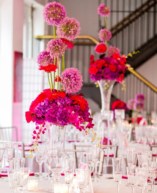 Pink & Purple Modern Reception Centerpieces // Photo: Ron Soliman // Featured: The Knot Blog