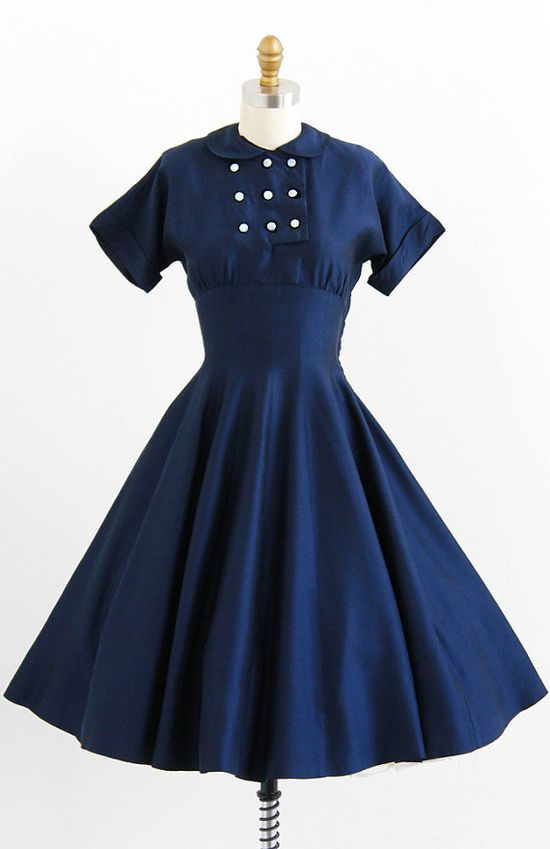 vintage 1950s navy blue Peter Pan collar party dress