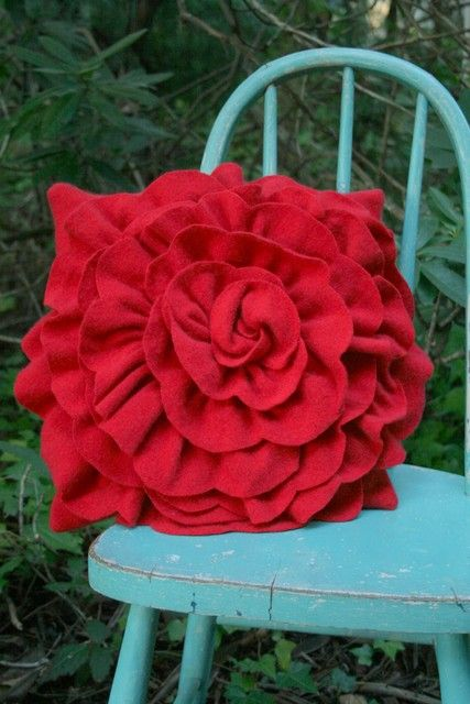 red cashmere ruffle rose pillow
