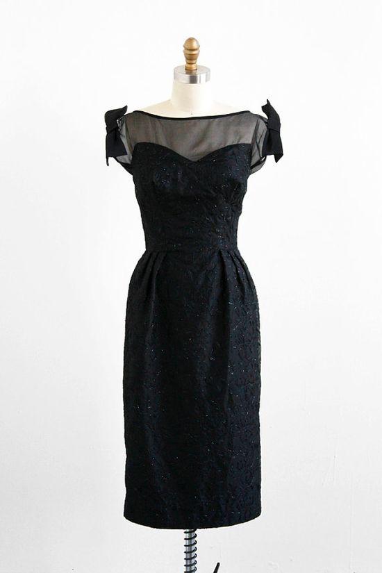 vintage 1950s shimmering black illusion bows dress