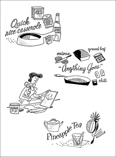 Charming culinary illustrations from 1952. #food #homemaker #1950s