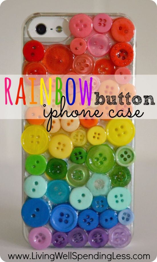 DiY Rainbow Button iPhone Case. Darling custom iPhone case made from an inexpensive clear cover and spare buttons. Awesome handmade gift idea!