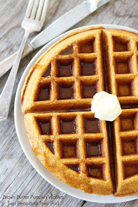 Brown Butter Pumpkin Waffle Recipe on twopeasandtheirpo... A must make for Fall!