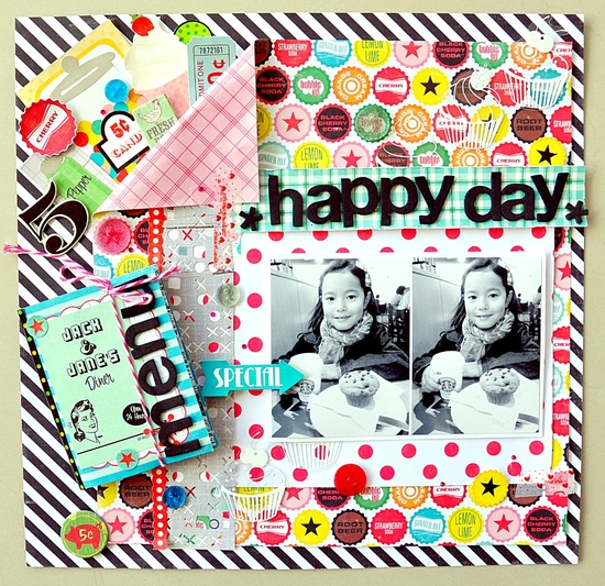 "HAPPY DAY - Scrapbook.com - A fun layout using Echo Park's ""Happy Days Collection."" #scrapbooking #echopark"