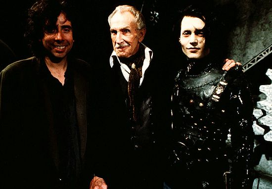 Tim Burton with Vincent Price and Johnny Depp during the filming of Edward Scissorhands in 1990