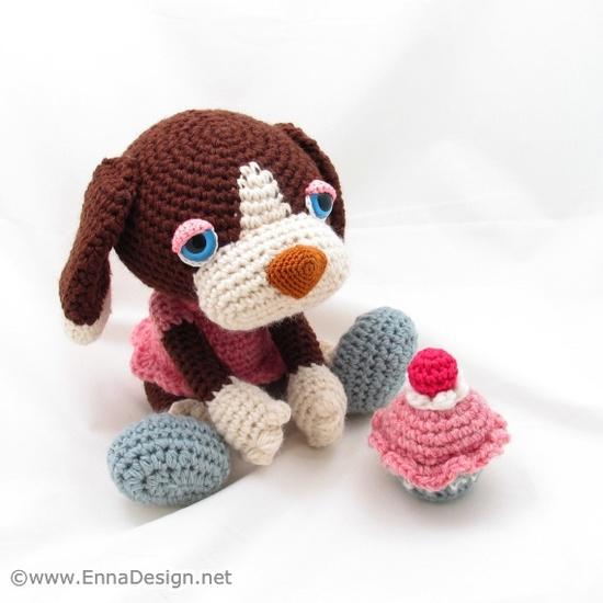 Crochet Amigurumi Dog with Cherry Cupcake