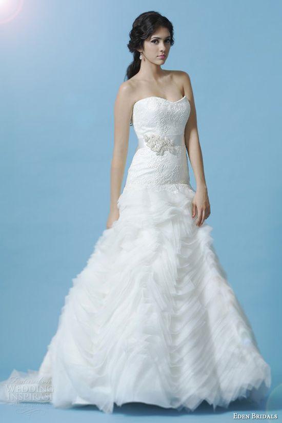 eden bridals wedding dress 2013 black label bl049 strapless a line gown