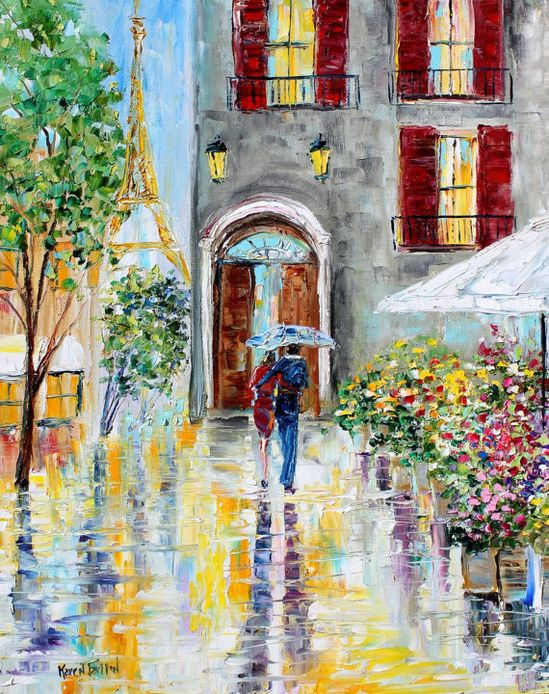 Original oil painting PARIS Flowers by Karensfineart