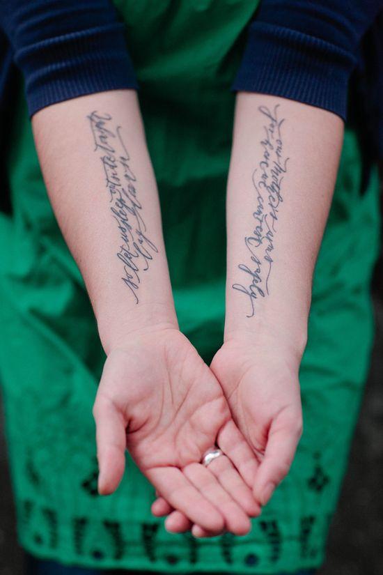 Script tattoo. Love the font