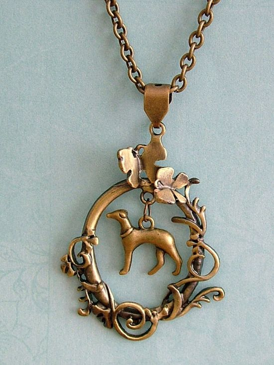 Greyhound / Whippet in Butterfly Garden necklace