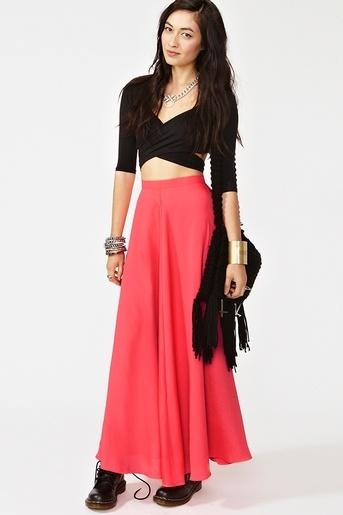 Neon Silk Maxi Skirt
