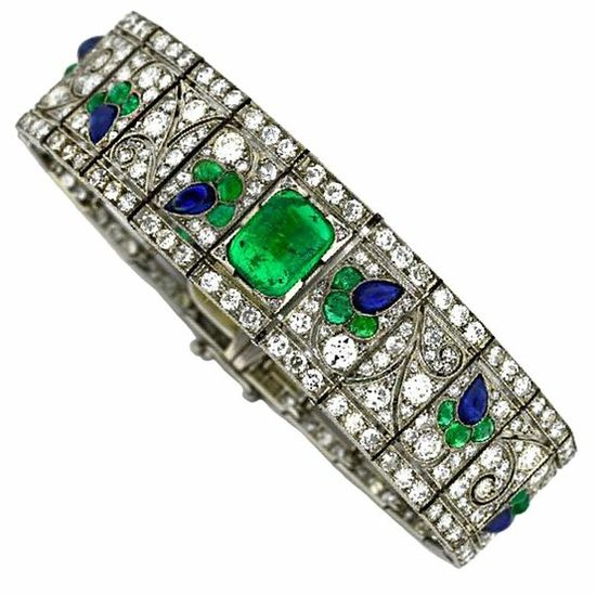Art Deco Diamond Sapphire Emerald  Platinum Bracelet FRANCE c 1920