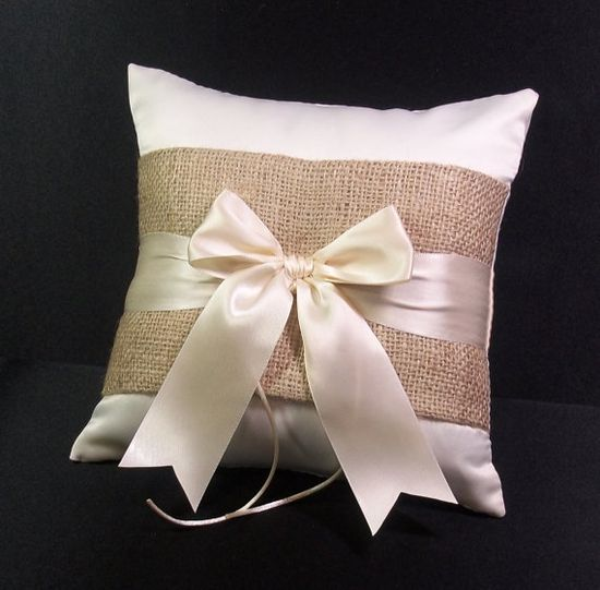 Burlap Accent  Ivory  or White Rustic Wedding Ring Bearer Pillow on Etsy, $24.00