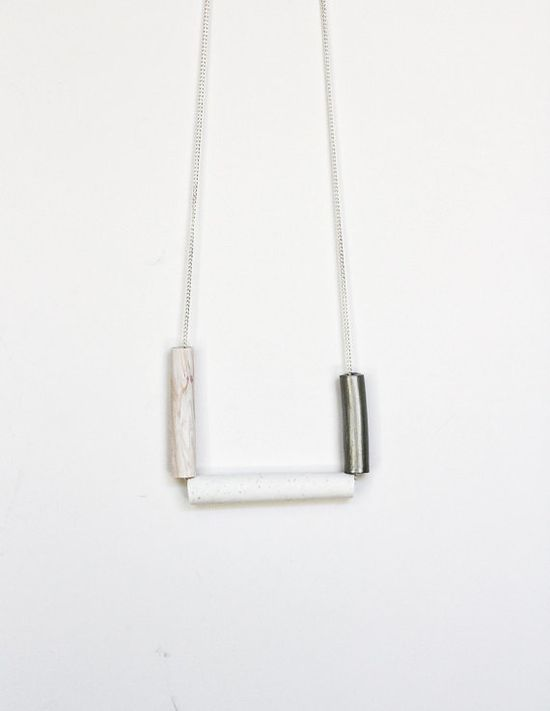 white and silver squared necklace