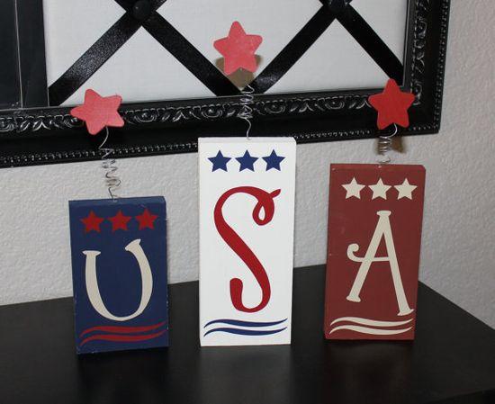 USA Firecracker Blocks- 4th of July, Patriotic, wood blocks, America. $8.00 USD, via Etsy.