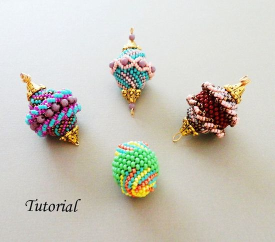 PDF for Four Beaded Beads Pattern - Beading Tutorial - seed bead jewelry - beadweaving beading pattern. $6.50, via Etsy.