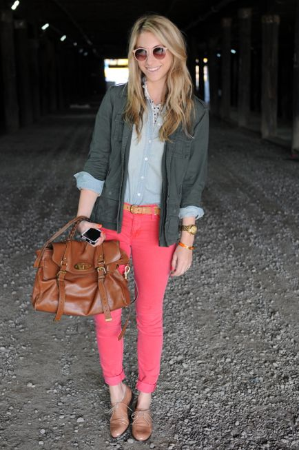 coral pink skinny pants with blazer, and button down blouse