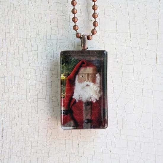 Primitive Christmas Santa Photo Glass Tile Pendant by RedOakImages, $9.00