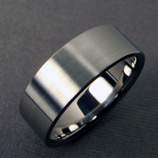 Mens Wedding Band  Titanium polished and satin by hersteller