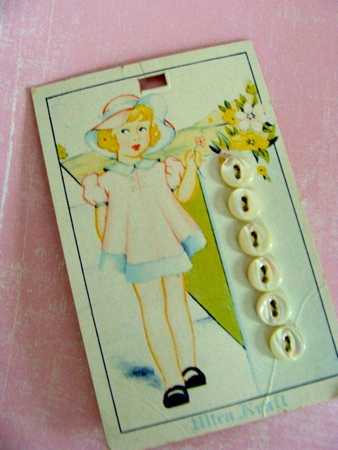 Vintage Little Girl Buttons Card