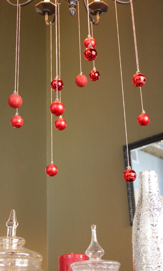 sparkly ornaments with bakers twine