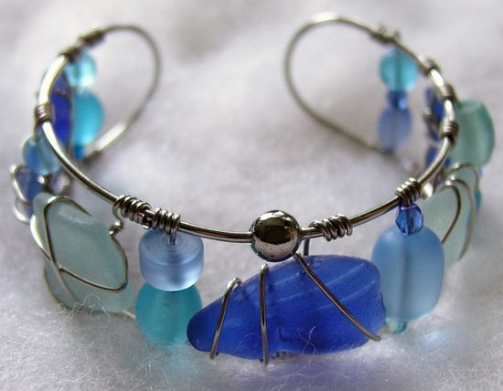Sea Glass Cuff Bangle Bracelet in Colors of the Sea, Ocean's Bounty Sea Glass Creations