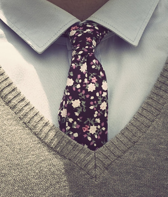 Floral tie, button up, and a sweater