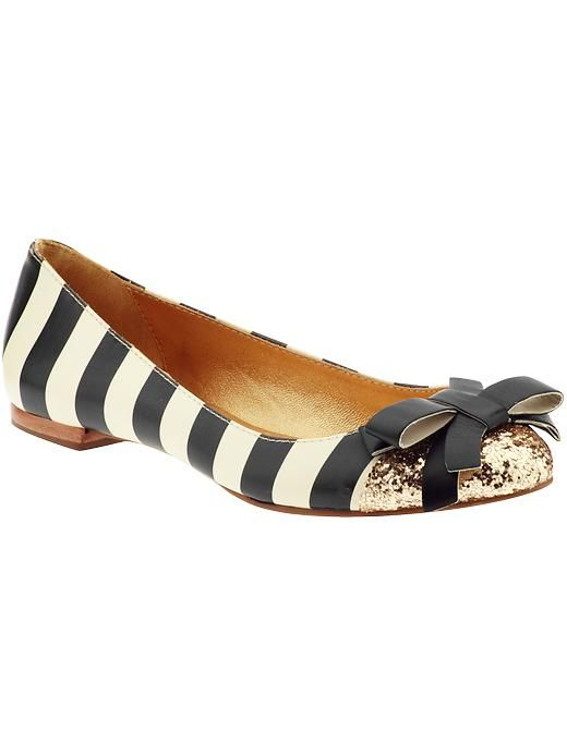 gold and striped flats by Kate Spade